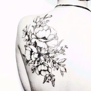 #shoulder #floral #flower #blackandgray