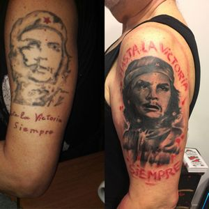 Cover up restailing #tattoo #coveruptattoo #realistic #trashpolkatattoo #cheguevara #Tattoodo