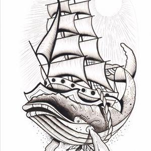 By @kevinhennesseytatoo available now!! To book email kh.artconcepts@gmail.com #whale #boat #sails #tallship #tattooartist #sydney #sydneytattooexpo #sydneytattooartist #fineline #blackwork