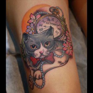 #kittytattoo#cattattoo#catportraittattoo#meowtattoo#pocketwatchtattoo#neotraditional#newtraditionaltattoo#animaltattoo
