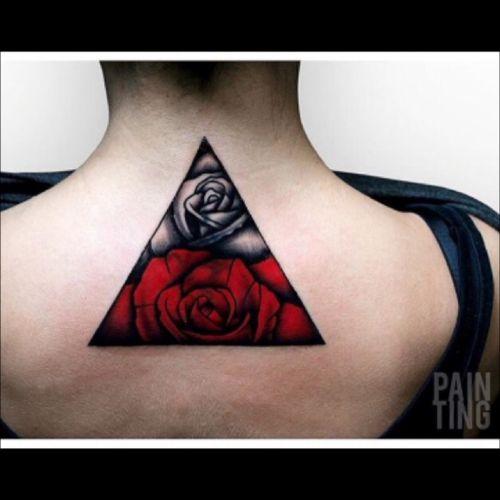 #rose #triangle #red #black #blackwork