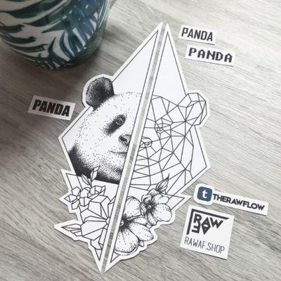 """Panda panda panda"" - half dotwork half geometric tattoo design #dotwork #tattooflash #animals #geometrictattoo #dotworktattoo #panda #nature #animaltattoo"