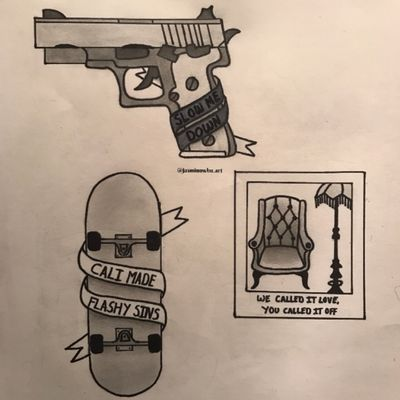 first attempt at doing designs like this and i can't do text to save my life but started an Issues flash sheet #issues #issuesband #slowmedown #madatmyself #hooligans #flash #tattooflash #flashsheet #gun #skateboard #polaroid #lyrics #music #yeah