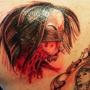 #seenoevil #zombietattoo on my upper back by #theartofchloecarter #zombietattoo #backtattoo #tigerbackpiece