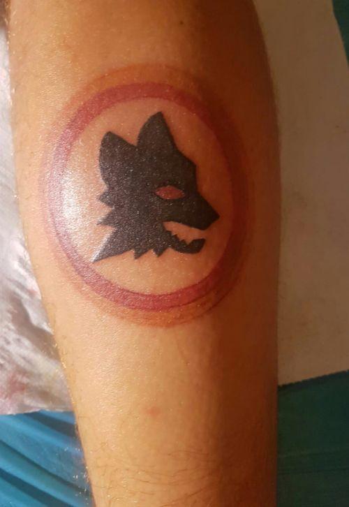A.S Roma soccer logo tattoo