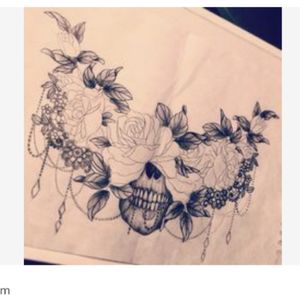 With realistic flowers and no draping chains just beneath my collar bones #megandreamtattoo