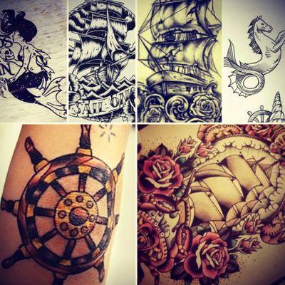 #pirate #piratetattoo #pirateship #mermaid #hipocampus #tattooidea