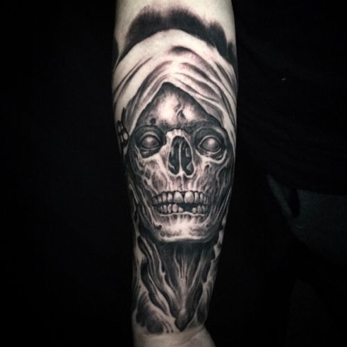 Grim Reaper tattoo by @jeremiahbarba out of Conclave Art Studio- Sunset Beach CA US.