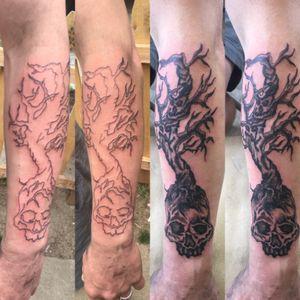 Quarter sleeve! Tree of life! #treeoflife #skulls #blackandgrey #blackandgreytattoo #freehand #tattoo #skulltattoo #tattoos #rawtattoos #guyswithtattoos #guyswithink