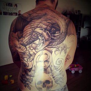 #backpiece #dragontattoo #wizard #skull #blackandgreytattoo #tattooeddad