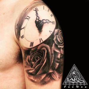 Tattoo by Lark Tattoo artist PeeWee #blackandgray #blackandgraytattoo #bng #bngtattoo #rosetatto #rose #clock #clocktattoo #tattoo #tattoos #tat #tats #tatts #tatted #tattedup #tattoist #tattooed #tattoooftheday #inked #inkedup #ink #tattoooftheday #amazingink #bodyart #tattooig #tattoososinstagram #instatats #larktattoowestbury #larktattoo #larktattoos