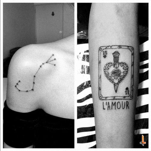 Nº235 #tattoo #tattoos #littletattoos #ink #inked #constellation #scorpio #scorpius #zodiac #stars #card #lamour #25 #dagger #daggertattoo #oldschool #oldschooltattoo #heart #heartattoo #eye #tarot #bylazlodasilva