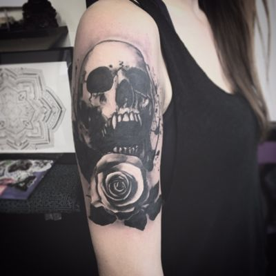#vampire #skull and #rose tattoo i have done in a high contrast style
