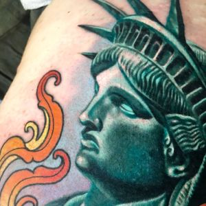 Details from a #statueofliberty tattoo I made at GritNGlory.  Remember to upload your dreamtattoo and tag it #megandreamtattoo