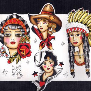 #flash #traditional #girlheads #cowgirl #nativegirl #navygirl #gypsygirl