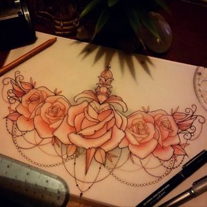 A piece like this as a sleeve would be my #megandreamtattoo #meganmassacretattoo #sleevetattoo #flowerpiece #roses #dagger #chains