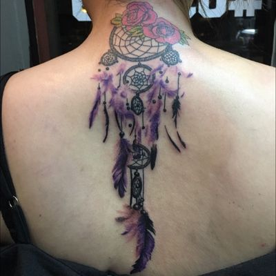 Dream catcher tattoo.. thank u.. for your trust in me to make this tattoo look wonderfull in your life.. #dreamcatcher #pinkrosetattoo #rosetattoo