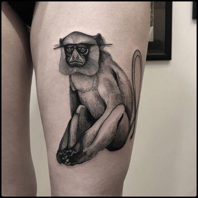 #totemica #tunguska #black #monkey #gray #langur #semnopithecus #tattoo #blackworkers #adrenalinktattooing