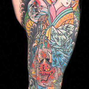 Details on kenneths leg. @RoyalTattoo #Geisha #snaketattoo #peony