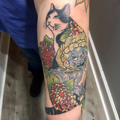 #Monmon #cat #tattoo,designed by Brian Machelski @theinknerd #foodog #japanesetattoo