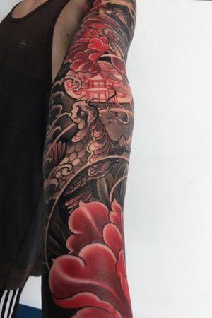Sleeve:) #snaketattoo #irezumi #japanesetattoo #japanese #peony #tattoodo #wearesorrymom #inkjecta #killerinktattoo
