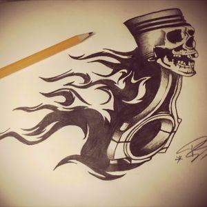 Another nice sketch #badass #tattoosketch #tattoo #blackandgrey #piston #skull #flames #mobileinkstitution #hannover #follow4follow