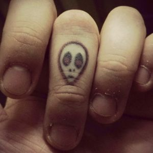 This one is my second tattoo, a small alien-DeadPool 👽💀💩L  on my finger, just because I am the alien of my family and DeadPool is my favorite person in the marvel universe, I know this tattoo is simple but it is like I wanted. This tattoo was done by #Cassie again, my french tattoo artist !