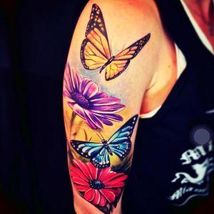 #jeantattooart #butterflies #flowers