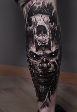 #skull #skulltattoo #shaman #horror #evil #tattoo #vainiusanomaly #realism #realistic #realistictattoo #blackandgrey #wolf
