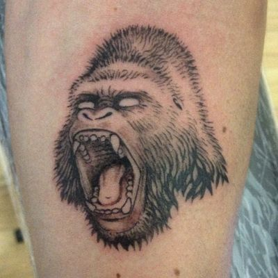 Gorilla #gorilla #GorillaTattoo #blackandgrey #cheyennetattooequipment #kurosumi
