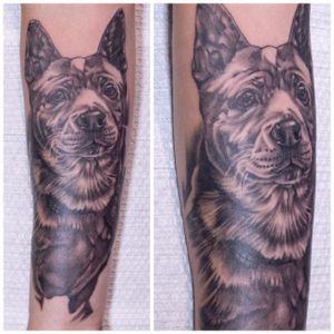 Tattoo by Kenny Chin #dog #pet #hongkongtattooartist #hongkongtattoo #blackandgrey