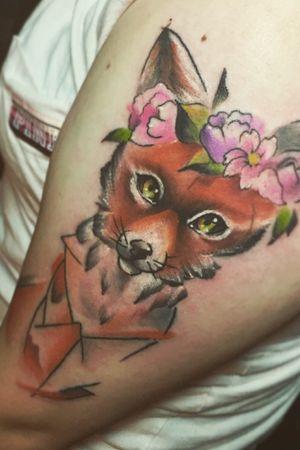 #watercolor #flowers #fox