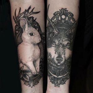 #blackwork #wolf #rabbit #frame #animals