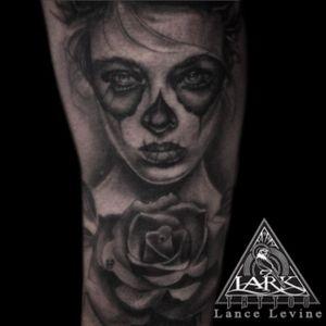 Tattoo by Lark Tattoo artist Lance Levine. #diademuertos #dayofthedeadtattoo #diademuertostattoo #dayofthedeadtattootattoo #sugarskull #sugarskulltattoo #portraittattoo #rosetattoo #tattoo #bng #bngtattoo #blackandgrey #blackandgreytattoo #blackandgray #blackandgraytattoo #inkjunkeyz #bnginksociety #ink #inkedup #fkirons #kiethbmachineworks #thegrays #silverbackink #blackclawneedle #tattooartist #larktattoo #nytattoo