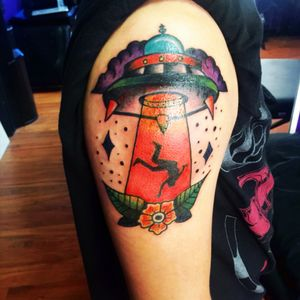 Alien abduction traditional tattoo done by Nicole Hanson at Gypsy Tattoo