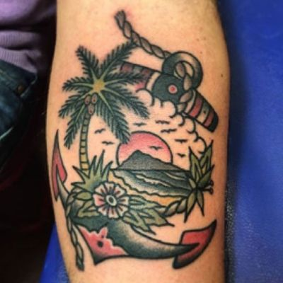 #traditional #ocean #scenery with #palmtree #anchor #birds #sunset #rope #sky #island #flower #Foliage in #color by #tattooartist #fedeoldboy @fede_oldboy