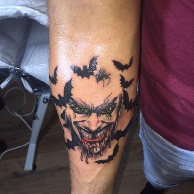 #Joker #bats #tattoo #tattooed #arm #forearm