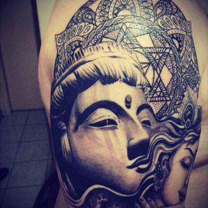 #blackandgrey #buddha #Krishna #oriental #hindu #mandala #canellatattoostudio