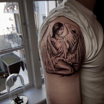 Guardian angel. The drunk version. #angel #wine #wings #angeltattoo #tattooangel #beauty #tattoooftheday
