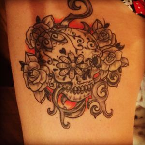 #skull#blackgrey#red#flowers