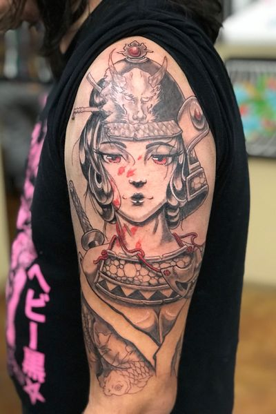 #japanese #japanesetattoo #blackandgrey #tattoooftheday #anime #giesha #samurai