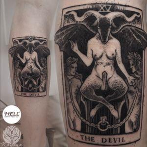 The Devil tarot #devil #tarot #DarkArt #blackwork #blackandgrey #IllustrativeTattoo #dotwork #graphictattoo #blackworkers #followme #tattooartist #czechtattoo #hellcz #nayanatattoo #ilovemywork #welove Follow my work on fb / insta / tattoodo 👉@nayanatattoo Better and larger pictures are on my facebook! 😉
