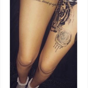 working progress #legsleeve #thightattoo #quote #tiger #rose #tattoo #ink #blackandwhite
