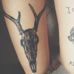by TinTin Tatouage / Paris, France 🇫🇷 #TinTin #bw #deer #legs #realism