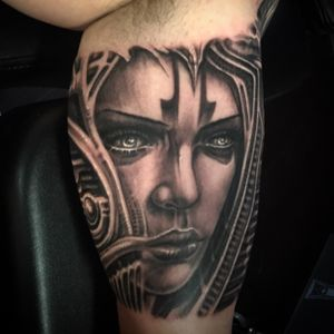 Biomechanical Girls face tattoo. By Jeremiah Barba
