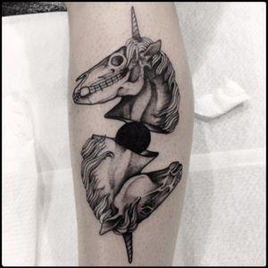 #black #unicorn #skull #tattoo #blackwork #totemica #ontheroad