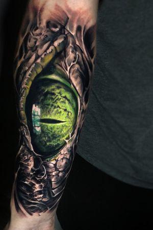#eye #aligator #darkness #horror #evil #tattoo #vainiusanomaly #realism #realistic #realistictattoo #blackandgrey #color #creepy