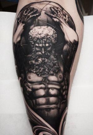 Atlas statue! #atlas #statue #blackandgrey #tattoodoambassador