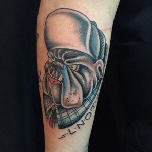 Bulldog for my buddy Jake. #tattooapprentice #anthonylowtattoos #bulldog #traditionaltattoo #