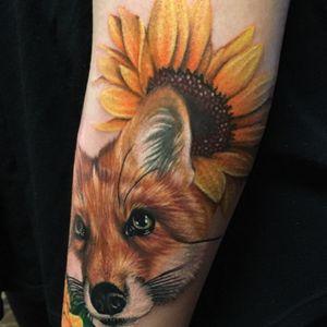 Sleeve I started some weeks back #fox #sunflower #realisticfox